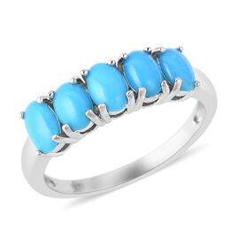 1.90 Ct Arizona Sleeping Beauty Turquoise 5 Stone Ring in Rhodium Plated Sterling Silver