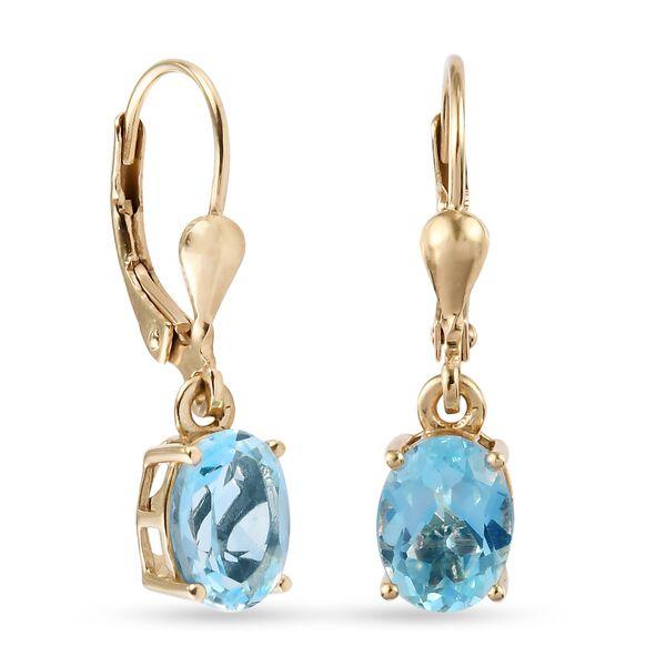 MP - AA Sky Blue Topaz (Ovl) Earrings in 14K Gold Overlay Sterling Silver 2.96 Ct.