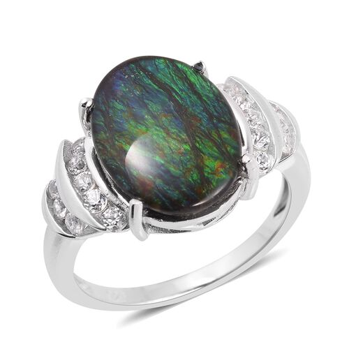 AA Canadian Ammolite (Ovl 16x12 mm), Natural White Cambodian Zircon Ring in Rhodium Overlay Sterling Silver.