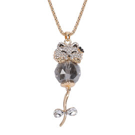Simulated Grey Spinel, Simulated Diamond and Black and White Austrian Crystal Cat Pendnat with Chain
