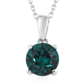J Francis - Crystal from Swarovski Emerald Colour Crystal (Rnd) Solitaire Pendant With Chain (Size 1