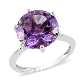 Bolivian Amethyst Solitaire Ring in Platinum Overlay Sterling Silver 5.90 Ct.