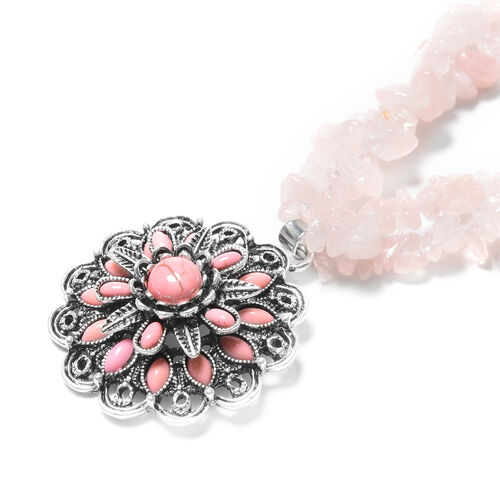 2 Piece Set - Rose Quartz, Pink Howlite Hook Earrings and Necklace (Size 18 with 2.5 Inch Extender) in Black Tone Stainless Steel