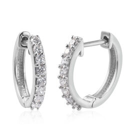 J Francis Platinum Overlay Sterling Silver Hoop Earrings (with Clasp)  Made with SWAROVSKI ZIRCONIA
