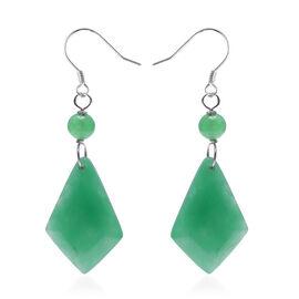 50.10 Ct Green Jade Kite Design Hook Earrings in Rhodium Plated Silver