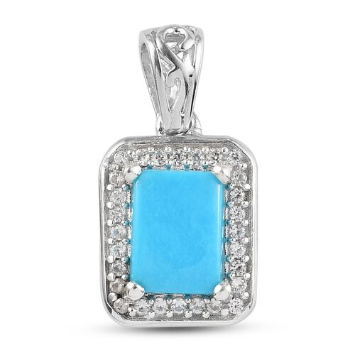 Arizona Sleeping Beauty Turquoise and Natural Cambodian Zircon Halo Pendant in Platinum Overlay Ster