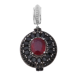 9.69 Ct African Ruby and Boi Ploi Black Spinel Halo Pendant in Rhodium Plated Silver 8.89 Grams