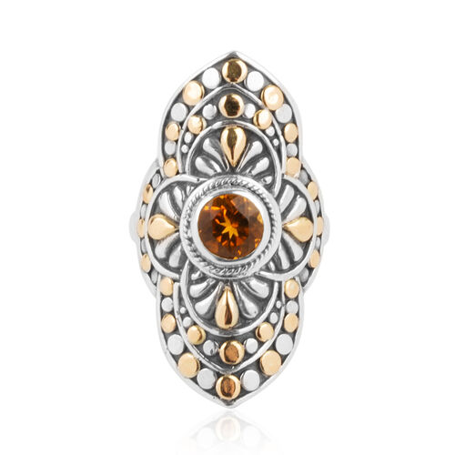 Bali Legacy Collection- 18K Yellow Gold with Citrine (Rnd) Filigree Ring in Sterling Silver 0.795 Ct. Metal wt 7.57 Gms
