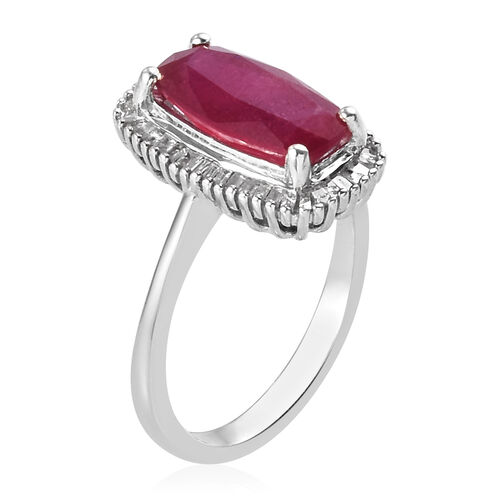 AA African Ruby and Diamond Ring in Platinum Overlay Sterling Silver 3.34 Ct.