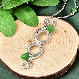Rachel Galley Venom (Snakes) Collection - Green Jade Pendant with Chain (Size 20/22/24) in Rhodium Overlay Sterling Silver 7.17 Ct, Silver wt 14.00 Gms