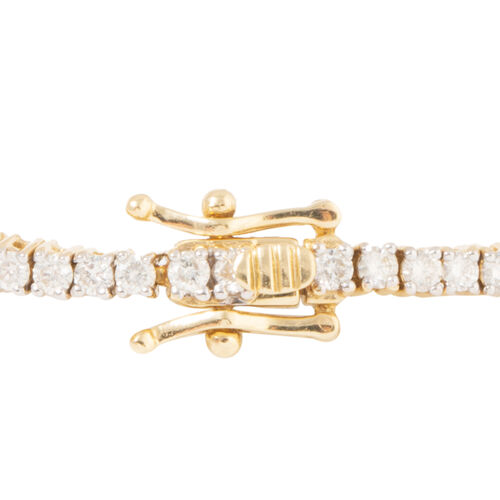 New York Close Out 14K Yellow Gold Diamond (Rnd) (I2/G-H) Bracelet (Size 7.25) 3.000 Ct, Gold wt 9.00 Gms.