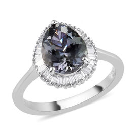 RHAPSODY 950 Platinum AAAA Peacock Tanzanite and Diamond Halo Ring 4.00 Ct.