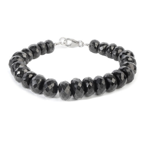 Boi Ploi Black Spinel Beaded Bracelet in Rhodium Plated Silver 7.5 Inch