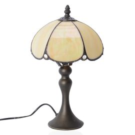 Home Decor - Tiffany Style Table Lamp with Handcrafted Stained Glass - Off White White with Mother of Pearl Plating Finish