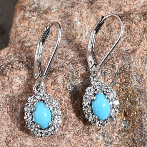 Arizona Sleeping Beauty Turquoise (Ovl 6x4 mm), Natural Cambodian Zircon Lever Back Earrings in Platinum Overlay Sterling Silver 1.000  Ct.