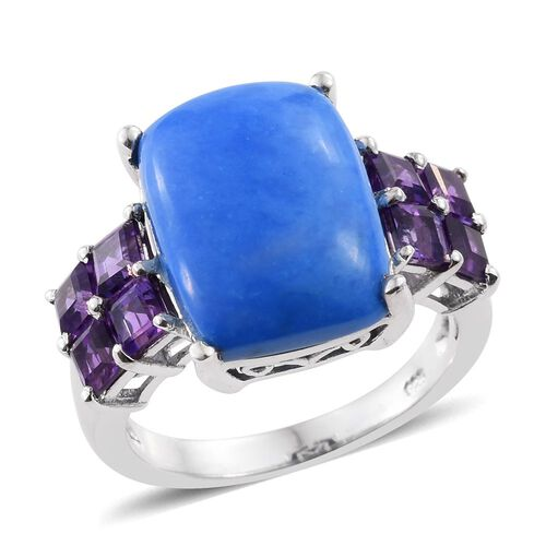 9.25 Ct Ceruleite and Amethyst Solitaire Design Ring in Platinum Plated Sterling Silver 5 Grams