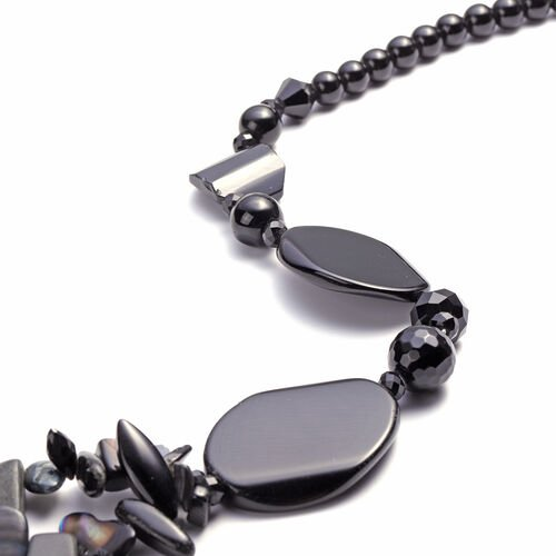 Black Agate, Black Quartzite, Simulated Black Spinel and Black Shell Necklace (Size 28 with 3 inch Extender)