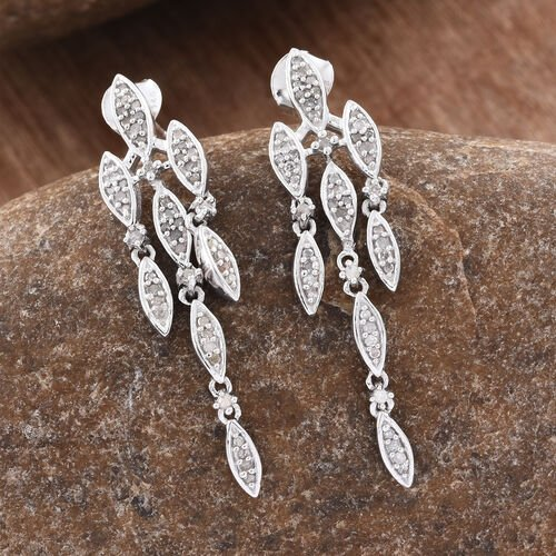 Limited Edition - Designer Inspired - Diamond (Rnd) Earrings (with Push Back) in Platinum Overlay Sterling Silver 0.505 Ct.