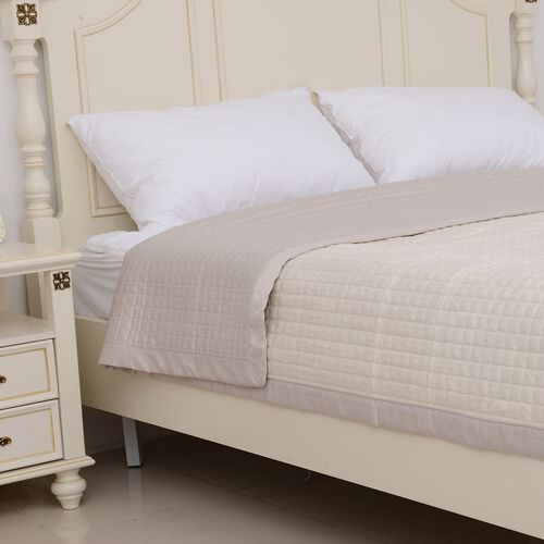 Micro Mink Reverse Matte Satin Quilt with Small Checker Quilting Pattern 240x260cm in Ivory Colour