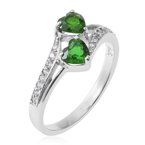 Russian Diopside (Hrt), Natural Cambodian White Zircon Heart Ring in Rhodium Overlay Sterling Silver 1.280 Ct.