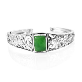 16.75 Ct Green Jade Cuff Bangle in Silver 27.30 Grams 7 to 7.5 Inch