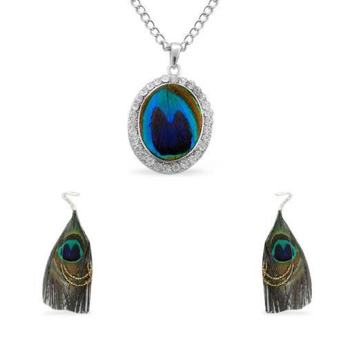 White Austrian Crystal Peacock Wings Hook Earrings and Pendant With Chain in Stainless Steel