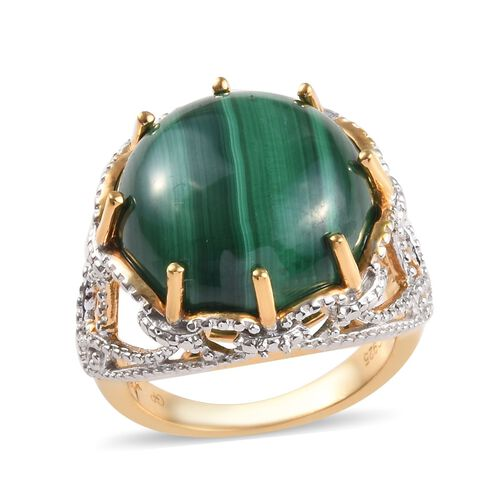 GP 16.03 Ct Malachite and Blue Sapphire Solitaire Ring in Gold Plated Silver