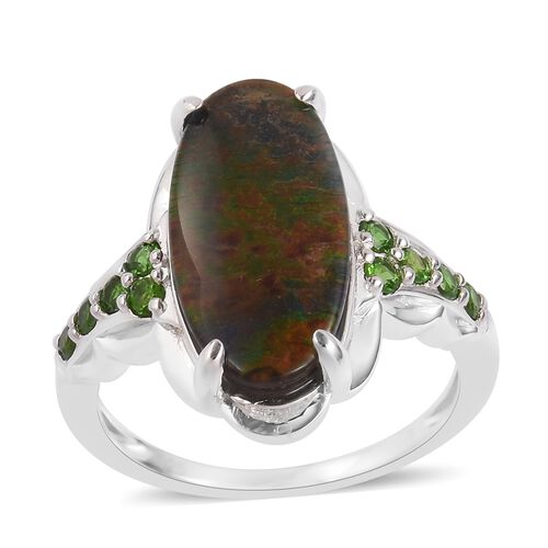 Canadian Ammolite (Ovl 18x9 mm), Russian Diopside Ring in Rhodium Plated Sterling Silver 4.500 Ct.