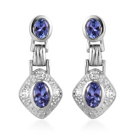 Tanzanite Earrings (with Push Back) in Platinum Overlay Sterling Silver 1.50 Ct.