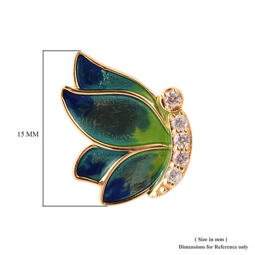 GP - Natural Cambodian Zircon and Blue Sapphire Enamelled Butterfly Earrings (with Push Back) in Yellow Gold Overlay Sterling Silver