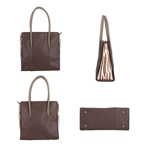 Premium Collection 100% Genuine Leather Tote Bag (Size 31x31x13cm) - Dark Brown