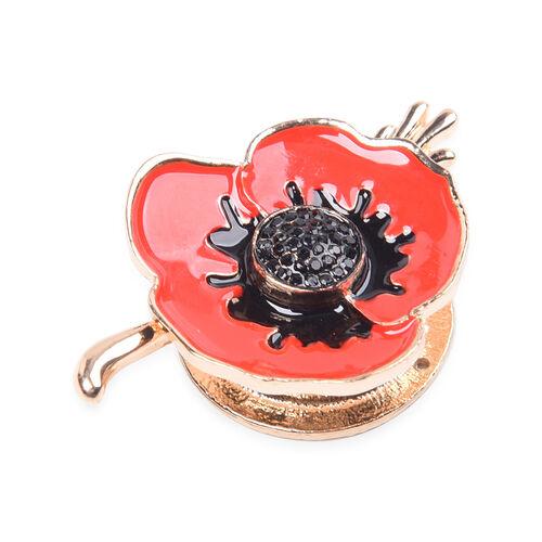 TJC Poppy Design - Black Austrian Crystal Enamelled Magnetic Poppy Brooch in Gold Tone