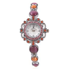 STRADA Japanese Movement Water Resistant Bracelet Watch Studded with Simulated Pink and Orange Cats Eye and Austrian Crystal in Stainless Steel