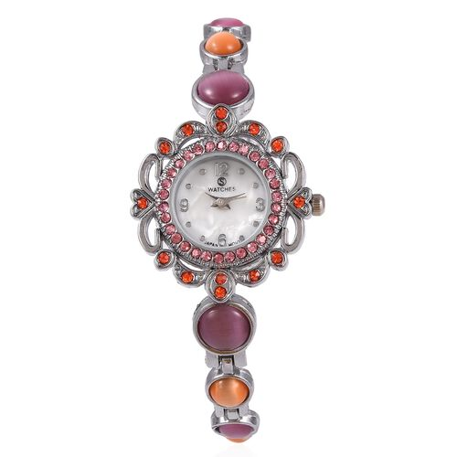 STRADA Japanese Movement Water Resistant Bracelet Watch Studded with Simulated Pink and Orange Cats