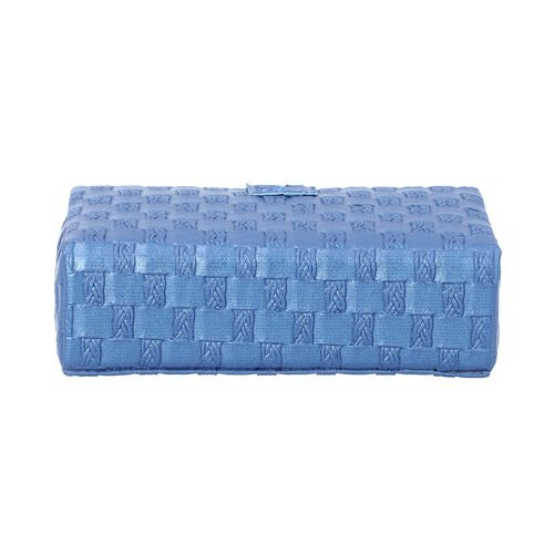Blue Woven Pattern Jewellery Box with Mirror and Button Clasp Lock (14x8x4.2cm)