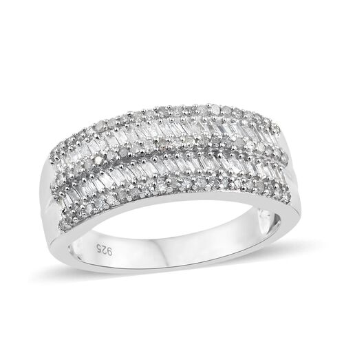 Diamond (Rnd) Ring in Platinum Overlay Sterling Silver 0.500 Ct. Number of Diamonds 114