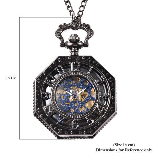 GENOA Automatic Mechanical Octagonal Hollow-Out Number Pattern Skeleton Pocket Watch with Chain in Black Tone