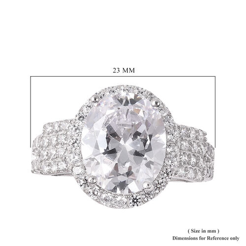 ELANZA Simulated Diamond Ring in Rhodium Overlay Sterling Silver, Silver wt 5.00 Gms