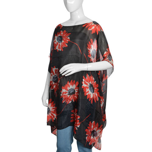 100% Mulberry Silk Black, Red and White Colour Handscreen Floral Printed Kaftan (Free Size)
