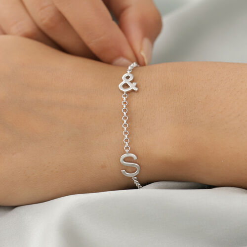 Personalise Two Alphabet + &, Name Bracelet in Silver, Size - 7.5 Inch