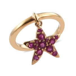 African Ruby (Rnd) Ring with Star Fish Charm in 14K Gold Overlay Sterling Silver 0.750 Ct.