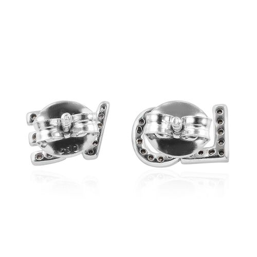 Natural Diamond (Rnd) LOVE Earrings (with Push Back) in Platinum Overlay Sterling Silver 0.20 Ct.