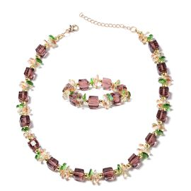 2 Piece Set - Simulated Amethyst (Sqr), Simulated Morganite and Simulated Diopside Necklace (Size 17