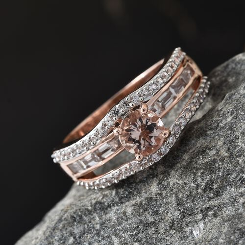 Marropino Morganite (Rnd), Natural Cambodian Zircon Ring in Rose Gold Overlay Sterling Silver 2.250 Ct.
