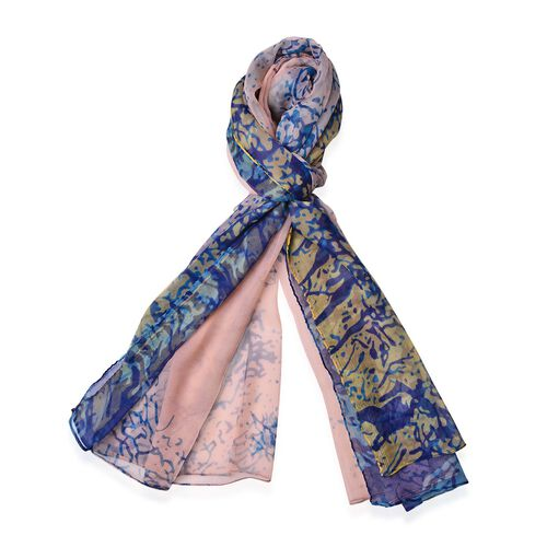 100% Mulberry Silk Grove Pattern Peach, Light Blue and Yellow Colour Scarf (Size 170x110 Cm)