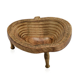 Hand Carved Mango Wood Tray Single Piece Wooden Spring with Removable Legs (Size 24x25x8.5 Cm) -  Ap