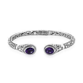 Royal Bali Collection Zambian Amethyst (Ovl) Cuff Bangle (Size 7.5) in Sterling Silver 4.60 Ct, Silv