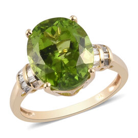 Collectors Edition- 9K Yellow Gold  AAA Hebei Peridot (Very Rare Size 12x10 4.80 Ct.) and Natural Di