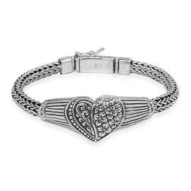 Royal Bali Collection Sterling Silver Heart with Tulang Naga Chain Bracelet (Size 8), Silver wt 48.01 Gms.