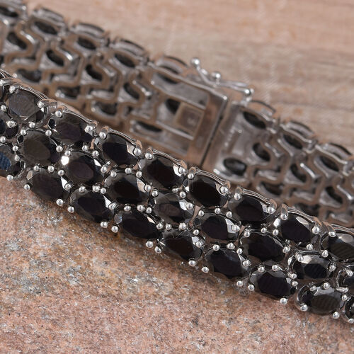 Elite Shungite (Ovl) Bracelet (Size 7) in Platinum Overlay Sterling Silver 21.50 Ct, Silver wt 23.21 Gms